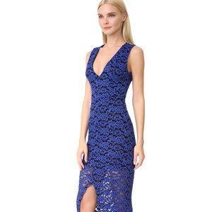 Alice + Olivia Kahlo Front Slit Lace Maxi Dress